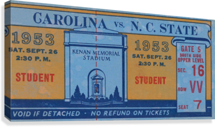 1953 North Carolina vs. NC State  Canvas Print