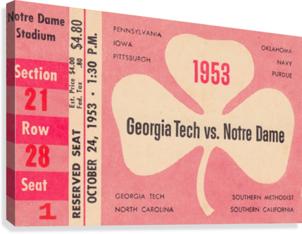 1953_College_Football_Notre Dame vs. Georgia Tech_Notre Dame Stadium_College Ticket Collection Art (1)  Canvas Print