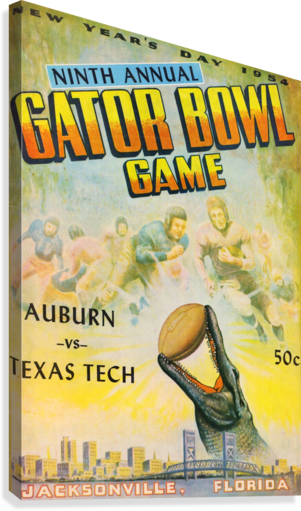 1954 Gator Bowl Auburn vs. Texas Tech  Canvas Print
