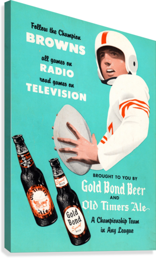 1955 Cleveland Browns Gold Bond Beer Ad  Canvas Print