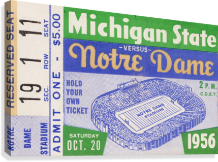 1956 Michigan State vs. Notre Dame  Canvas Print