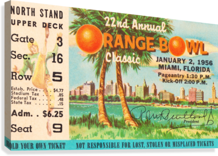 1956 ORANGE BOWL OKLAHOMA NATIONAL CHAMPS ROW ONE BRAND  Canvas Print