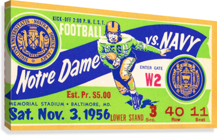 1956_College_Football_Notre Dame vs. Navy_Memorial Stadium_Baltimore_Row One Brand  Canvas Print
