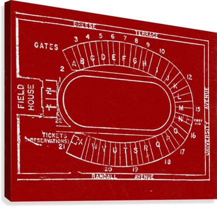 1957 camp randall map art  Canvas Print