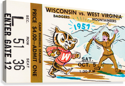 1957 Wisconsin vs. West Virginia Ticket Stub Art  Canvas Print