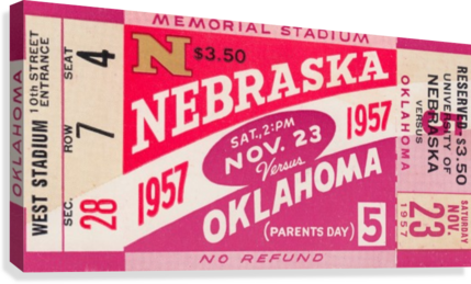 1957_College_Football_Nebraska vs. Oklahoma_Historic Memorial Stadium Lincoln_College Wall Art  Canvas Print