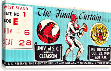 1959 South Carolina Gamecocks vs. Clemson Tigers Ticket Art Row One Brand College  Canvas Print