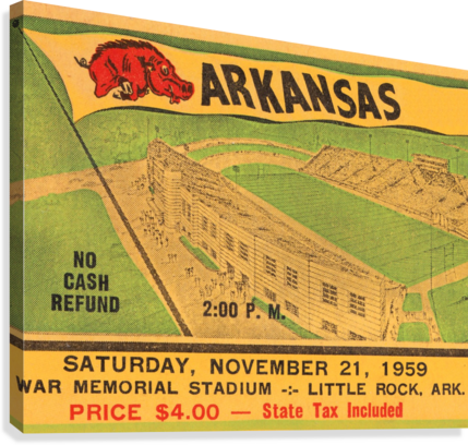 1959 ARKANSAS FOOTBALL TICKET ART ROW ONE BRAND  Canvas Print