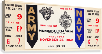 1959 Army Navy Game Ticket  Canvas Print