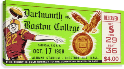 1959 Boston College vs. Dartmouth  Canvas Print