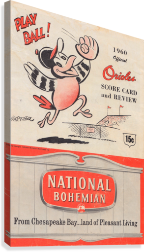 1960 baltimore orioles baseball score card review national bohemian beer ad poster  Impression sur toile