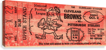1960 Cleveland Browns vs. Steelers  Canvas Print