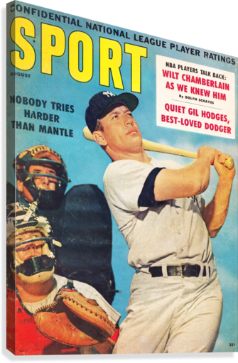 1960 Mickey Mantle Sport Cover Art  Canvas Print