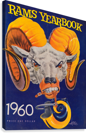 1960 nfl los angeles rams yearbook cover art price one dollar karl hubenthal Canvas print