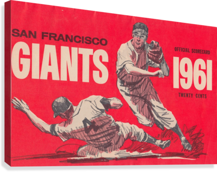 1961 San Francisco Giants Scorecard_Bay Area Home Decor Ideas  Canvas Print