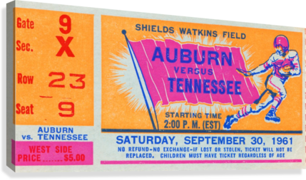 1961 TENNESSEE VS. AUBURN FOOTBALL TICKET ART ROW ONE BRAND  Canvas Print