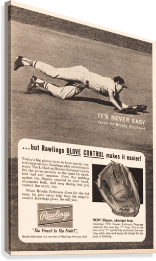 1963 brooks robinson rawlings baseball glove ad  Canvas Print
