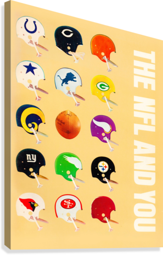 1963 vintage nfl helmets reproduction art  Canvas Print