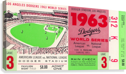 1963 WORLD SERIES TICKET STUB ART LA DODGERS HOME DECOR ROW ONE BRAND  Canvas Print