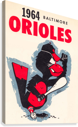 1964 BALTIMORE ORIOLES VINTAGE BASEBALL ART POSTER ROW ONE BRAND  Impression sur toile