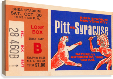 1965 Syracuse vs. Pittsburgh  Canvas Print