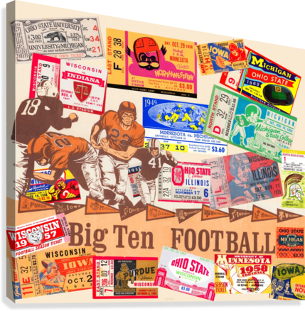 BIG TEN FOOTBALL TICKET STUB COLLAGE ROW ONE BRAND  Canvas Print
