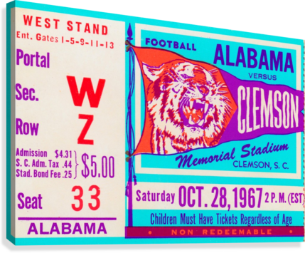 1967 Alabama vs. Clemson