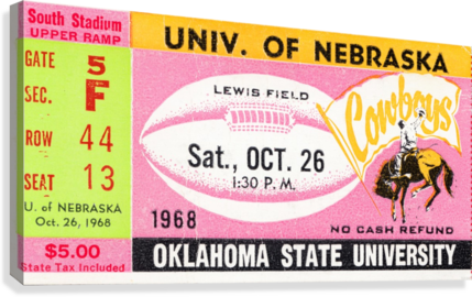 1968 Nebraska vs. Oklahoma State  Canvas Print