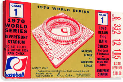 1970_MAJOR LEAGUE BASEBALL_WORLD SERIES_CINCINNATI REDS VS. BALTIMORE ORIOLES_RIVERFRONT STADIUM ROW ONE BRAND  Impression sur toile