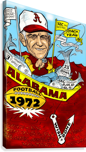 1972 alabama football  Canvas Print