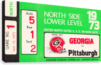 1973 GEORGIA VS. PITTSBURGH TICKET WALL ART ROW ONE BRAND  Canvas Print