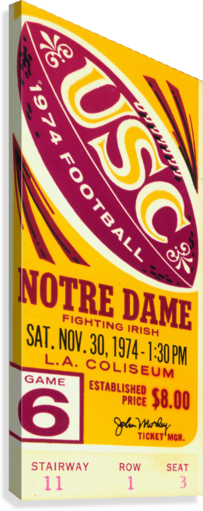 1974 USC VS. NOTRE DAME ROW ONE BRAND  Canvas Print