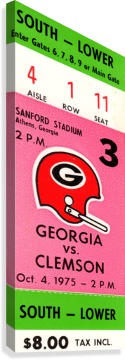 1975 college football clemson georgia bulldogs sanford stadium athens ticket stub canvas  Canvas Print