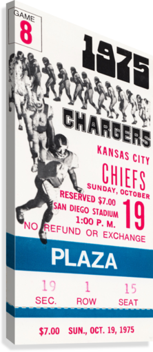 1975 San Diego Chargers Ticket Canvas  Canvas Print