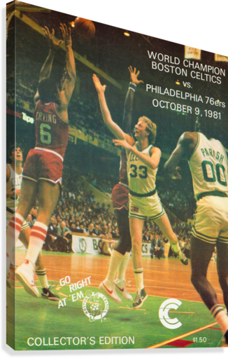 1981 boston celtics philadelphia 76ers larry bird art  Canvas Print