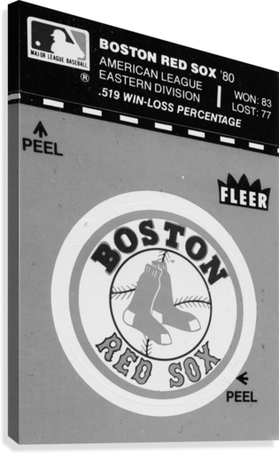 1981 boston red sox fleer decal art black white  Canvas Print