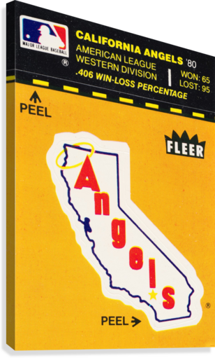 1981 Fleer Decal Poster California Angels  Canvas Print