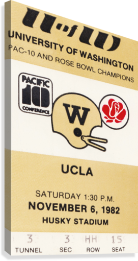 1982 uw huskies washington ucla football ticket stub canvas husky stadium seattle ticket  Canvas Print