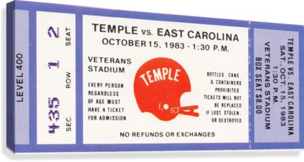 1983 Temple vs. East Carolina  Canvas Print