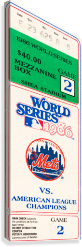 1986 New York Mets World Series Ticket Wall Art  Canvas Print