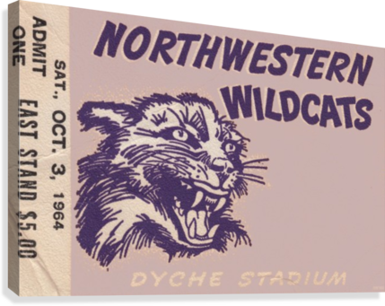 Northwestern University Wildcats College Football Wall Art Ticket Stub  Canvas Print