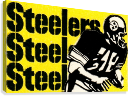 Row One Brand Vintage Pittsburgh Steelers Football Art Print Art Reproduction (1974)  Canvas Print