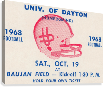 VINTAGE DAYTON FLYERS FOOTBALL TICKET POSTER ROW ONE BRAND  Canvas Print