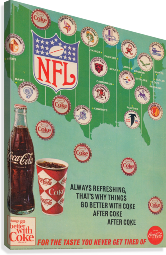 Vintage Coke NFL Bottle Cap Ad  Canvas Print