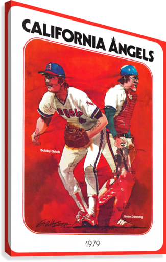 retro california angels poster baseball art row one (1)  Canvas Print