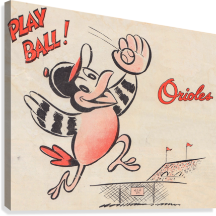 vintage baltimore orioles play ball art cartoon baseball poster metal canvas acrylic art  Impression sur toile