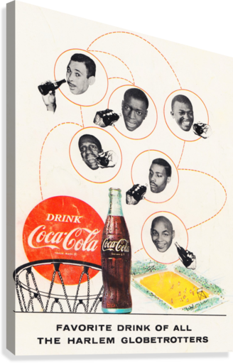VINTAGE COKE ADVERTISEMENTS HARLEM GLOBETROTTERS ROW ONE BRAND  Canvas Print