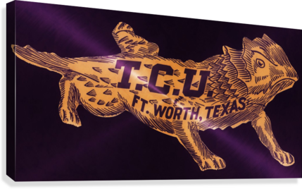 vintage college mascot art tcu horned frogs ft worth texas  Canvas Print