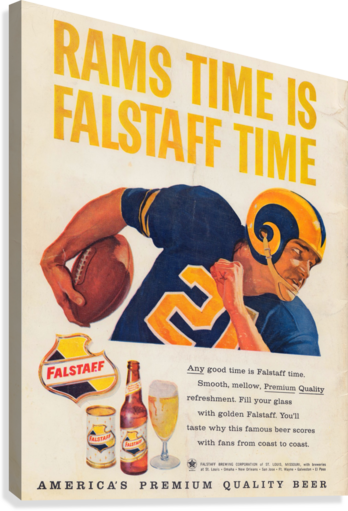 vintage falstaff beer ad la rams poster retro ads reproduction art  Canvas Print