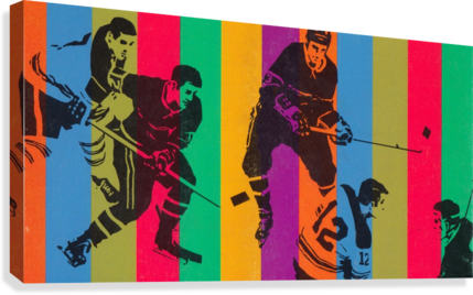 vintage hockey art colorful sports art poster  Canvas Print